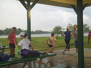 Workin' out while it rained!